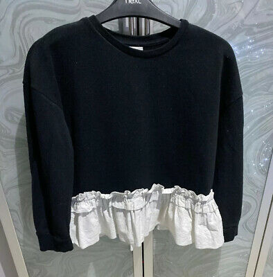 Girls River Island Frill Jumper Age 9/10 Years - Black/White