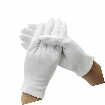 DH 12 Pairs White Cotton Gloves Soft Mittens Jewelry Inspection Stretchy Work Gloves-Small