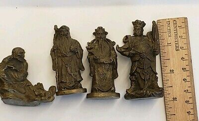 Antique Chinese Miniature Solid Bronze Brass Figurines Scholar, Warrior, Wisdom