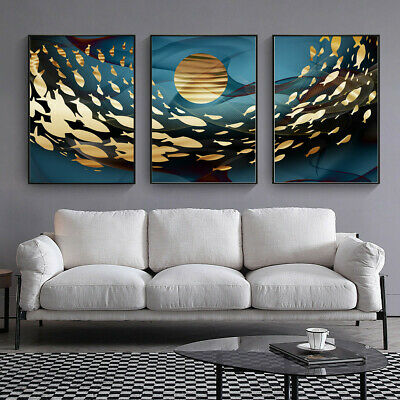 Abstract Gold Fish on Blue Ocean Canvas Poster Art Wall Picture Home Decor