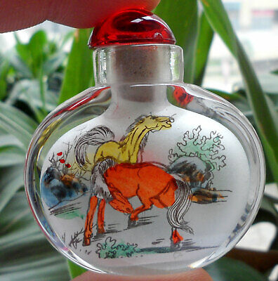 Chinese Handmade Inside painted Horses glass Snuff Bottle Collectible