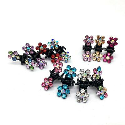 12PCS/Set Hair Claw Clips Crystal Rhinestone Flower Mini Hairpin Headwear Girls