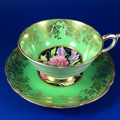 Paragon Sweet Pea Floral Green Bone China Tea Cup And Saucer