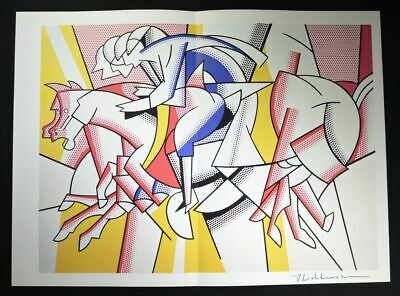 """Roy Lichtenstein, Hand Signed Famous Print """"The Red Horseman"""", with COA."""