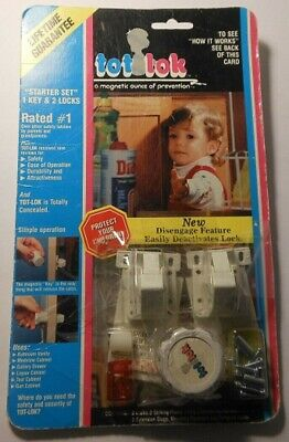 Magnetic Tot Lok Starter Set System with 2 Locks and One Key, New/Factory Sealed