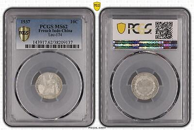 1937 French Indo China Ten Cent, 10c Silver Lec-174 PCGS - MS62 -137 D11-4235