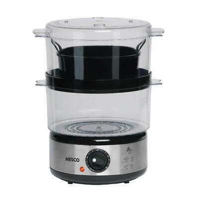 Nesco Food Steamer/ Rice Cooker 5 Qt. Stainless Steel 2-Steam Bowls 1-Hour Timer