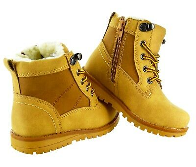 New Kids Boys Girls Warm Winter Snow Fur Lined Children Ankle Zip Trainers Boots