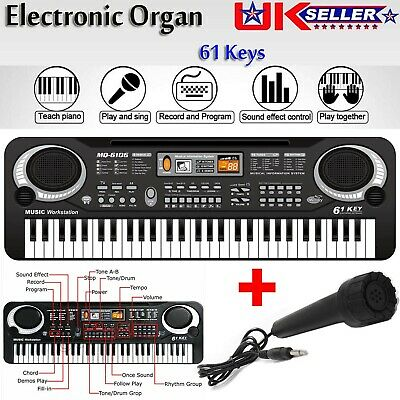61 Key Digital Electronic Piano Music Keyboard Electric Instrument Microphone UK