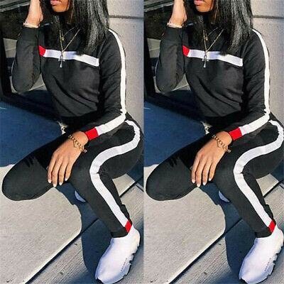 US Ladies Long Sleeve Sport Wear Running Tracksuit Hoodies Sweatshirt Tops+Pants