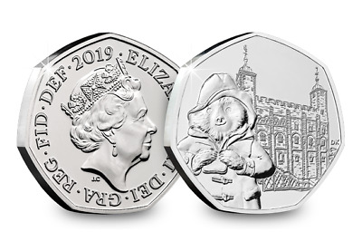 2 x 50p Paddington Bear at Tower of London-Fifty Pence-2019 New Uncirculated