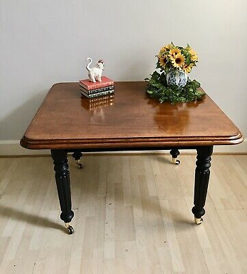 Antique Victorian Mahogany Dining Table Hand Painted With Gold Leaf Details