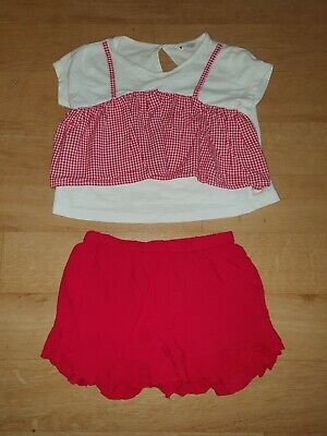 Red & white gingham top and red frill shorts age 5-6. By Very.