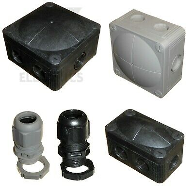 Wiska Combi Black / Grey Junction Boxes - 20mm Cable Glands IP68 - 308 407 GLP20