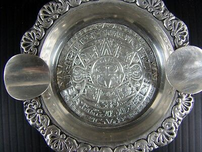 Antique Mexico Sterling Silver Ash Tray, Hallmark, W - 0.83 onces