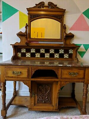 Beautiful Antique Victorian Marble top Wash Stand with tiled back and mirror