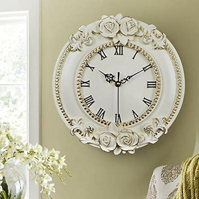 French Rococo Large 31cm Ornate WALL CLOCK Round Quiet Carved Roses Shabby Chic