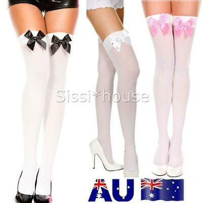 Ladies White Black Thigh High Costume Stockings with Bows Tights Fancy Dress OZ