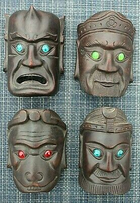 Exotic WOOD HAND CARVED WARRIOR GODS MASK Season Masks Real 1940's Set of FOUR