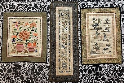 3 Antique Chinese Qing Dynasty Silk Hand Embroidery Scenery Panel