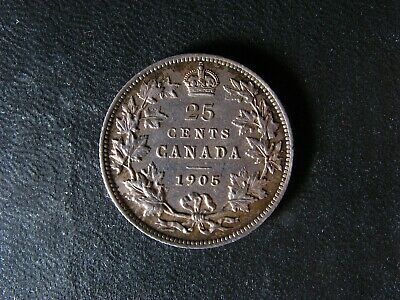 25 cents 1905 Canada King Edward VII silver coin c ¢ quarter dollar EF-45 Cleand