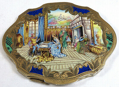 Fab! Vintage 1930S Italian Hand Painted Enamel 800 Silver Ladies Compact