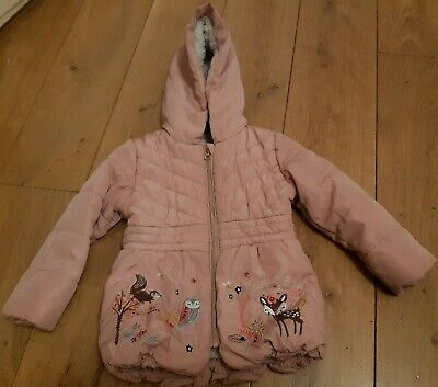 Tu Girls Winter pink Coat Jacket Size 2-3 Years Embroidered With Hood
