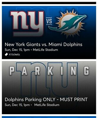 New York Giants Miami Dolphins 4 Tickets 12/15/19 w/ Parking Pass