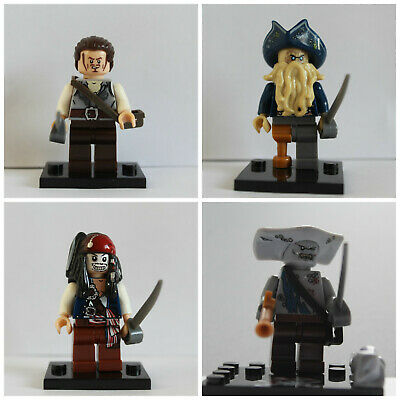 Pirates Of The Carribean Jack sparrow Davy Jones 4 X Mini Figures Use With lego