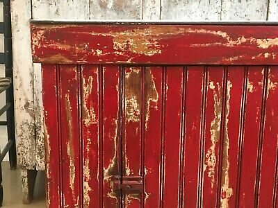 AAFA ANTIQUE EARLY FOLK ART 1800s DRY PAINT RED WHITE WOOD DRY SINK PORCELAIN