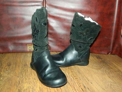 infant girls Clarks black leather/suede mid calf zip up boots uk 8 eur 25.5