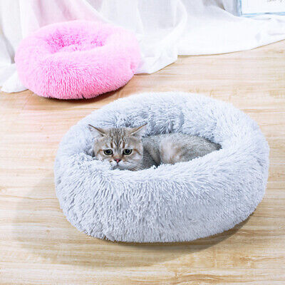 Pet Dog Cat Warm Calming Bed Soft Plush Round Nest Sleeping Bag Comfy Nest Beds