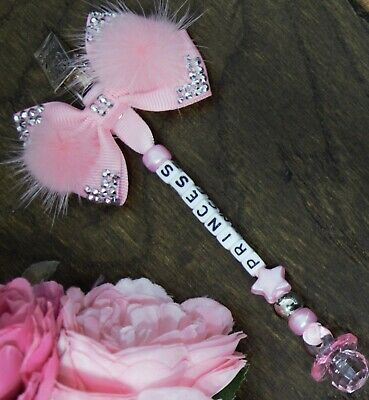 Personalised pram charm in baby pink baby girls pink bow