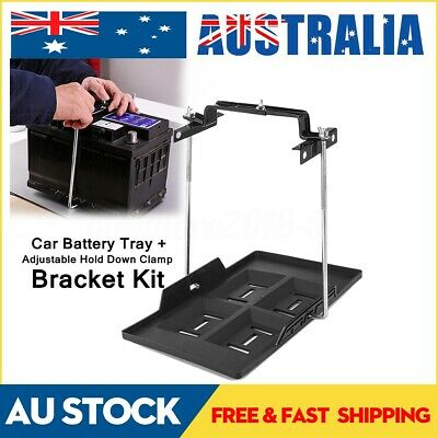 Metal Car Battery Tray Adjustable Hold Down Clamp Bracket Kit Cycle  AU!
