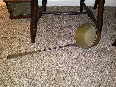 Early Hand Forged Iron & Brass Dipper Hearthware c. 19th Century