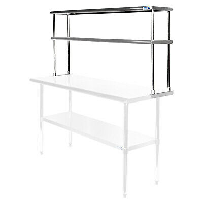 "Commercial Stainless Steel Kitchen Prep Table Wide Double Overshelf - 30"" x 60"""