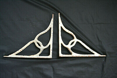 Pair Original Victorian Heavy White Cast Iron Shelf/Wall Brackets LARGE 1890s