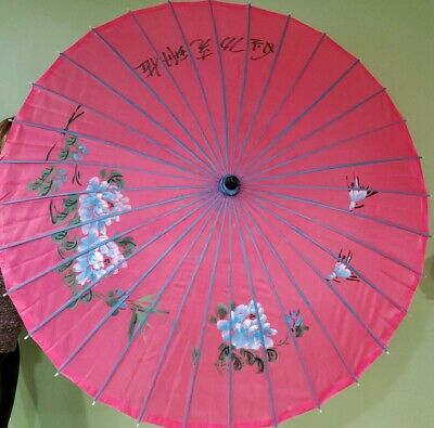 Vintage Asian Hand Painted Red Blue Silk Parasol Umbrella Bamboo Frame 44 Signed