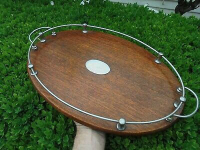 ANTIQUE AUSTRALIAN SILKY OAK BUTLERS SERVING TRAY WITH GALLERIES c1925