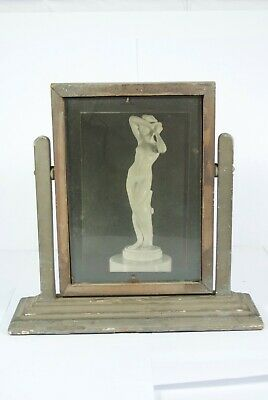 Antique wood Art Deco Swinging Picture Frame with original ads double Sided RAre