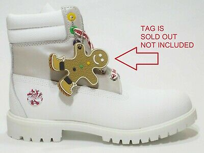 "Timberland MENS Premium 6"" White Leather Boots LIMITED Holiday Edition A1U5Y USA"