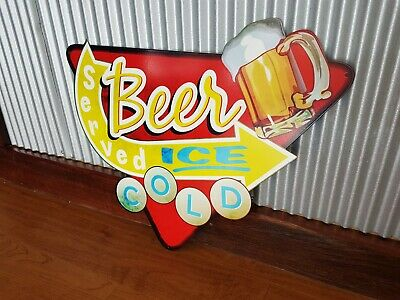 Ice Cold Beer Retro metal tin sign Served here bar man cave garage pub