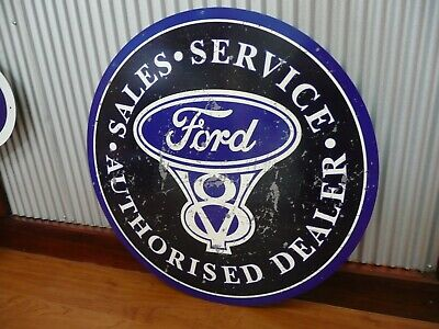 Large Round Ford V8 Metal tin sign Man cave bar Garage Sales Service Dealer