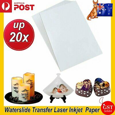 UP 20x A4 Waterslide Water Slide Transfer Decal Paper Inkjet Laser Printer Soap