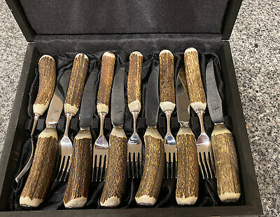 Abbeyhorn Stag Antler Steak Knives and Forks Set Of 6 Boxed New RRP £486.54