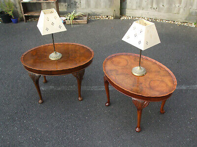 Pair of vintage burr-walnut coffee / bedside / lamp tables, lovely veneering