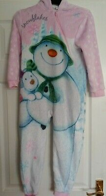 GIRLS soft fleecey Hooded all in one Snowman And Snowdog Pyjamas pjs size 6/7yrs