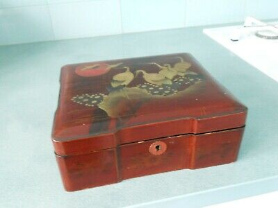 Antique Red Lacquer Wooden Chinese / Japanese / Oriental Box With Gilt Cranes