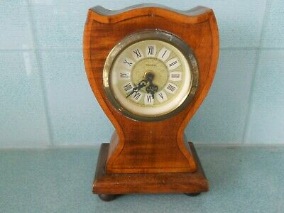 Antique / Vintage Mercedes German Wind Up Wooden Mantel Clock