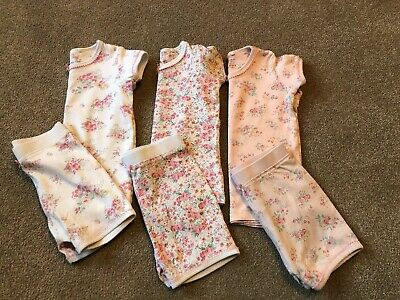 Girls Next Set Of 3 Pink Floral Design Short Pyjamas / PJ's Age 2-3 Years Vgc